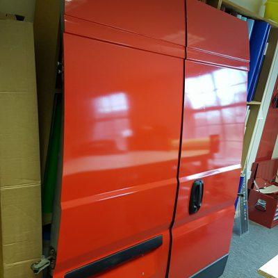 Rear van doors signage livery before